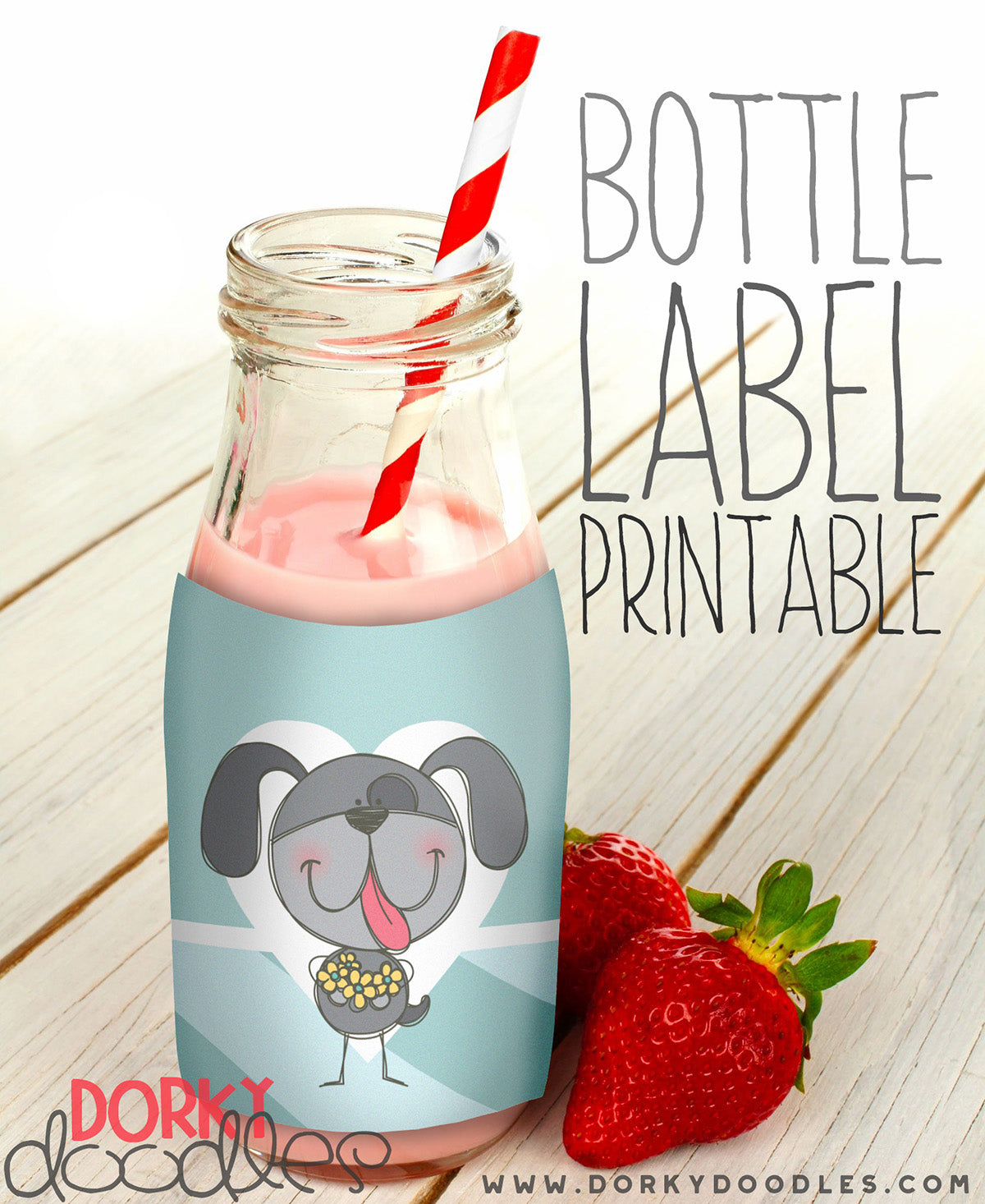 free printable bottle label with puppy