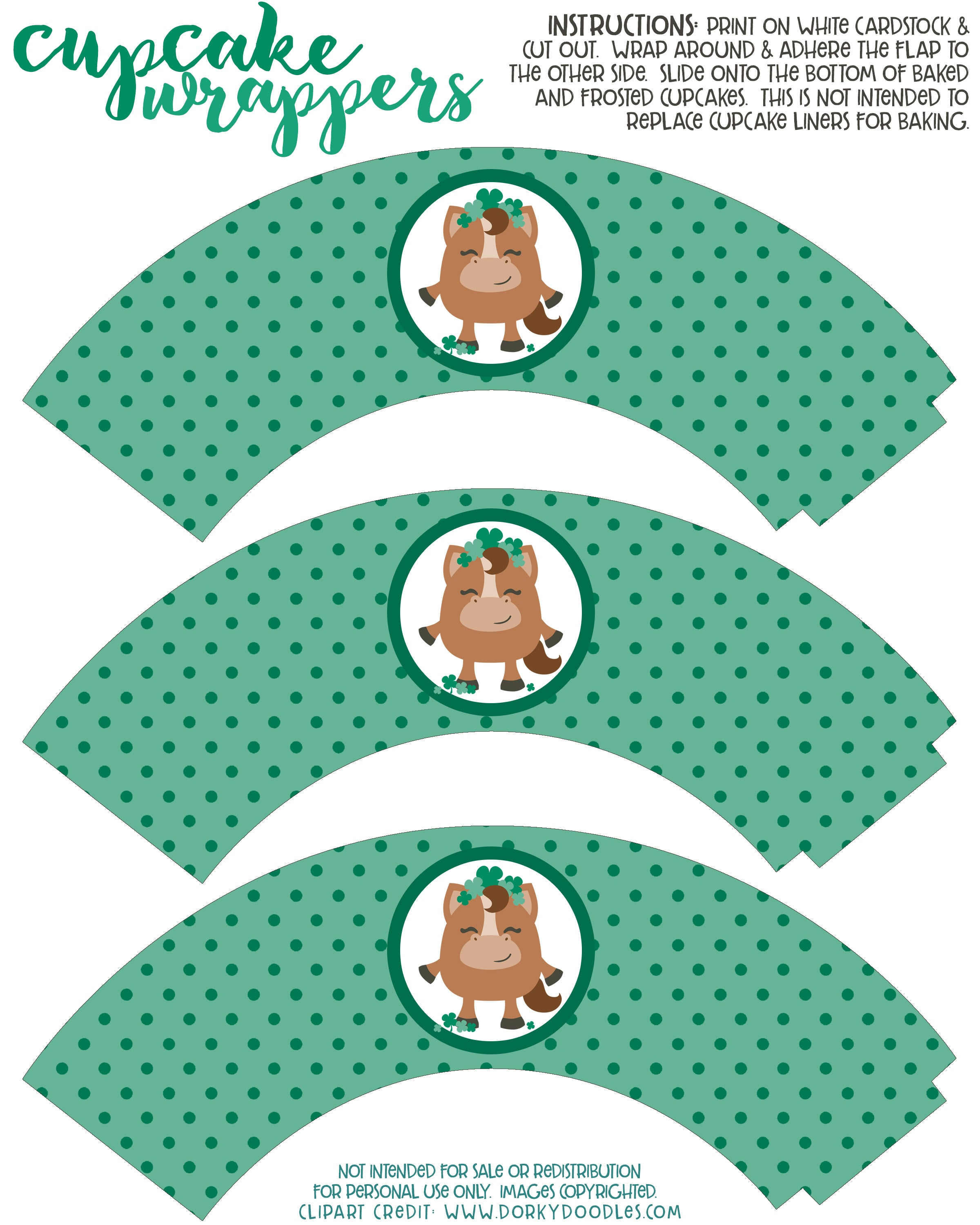 shamrock cupcake wrappers free printable