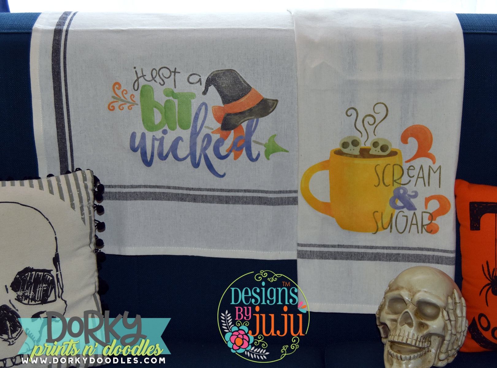 Halloween inkjet transfer designs on towels - a tutorial