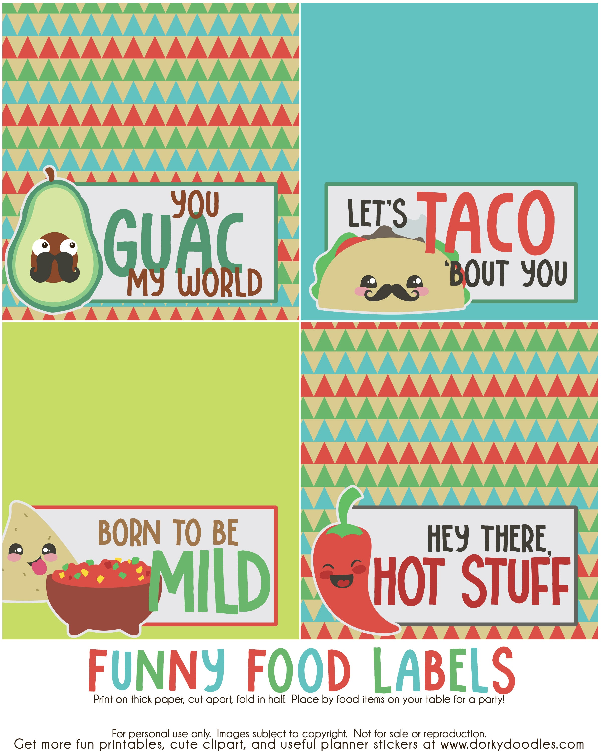 funny Mexican food label printables
