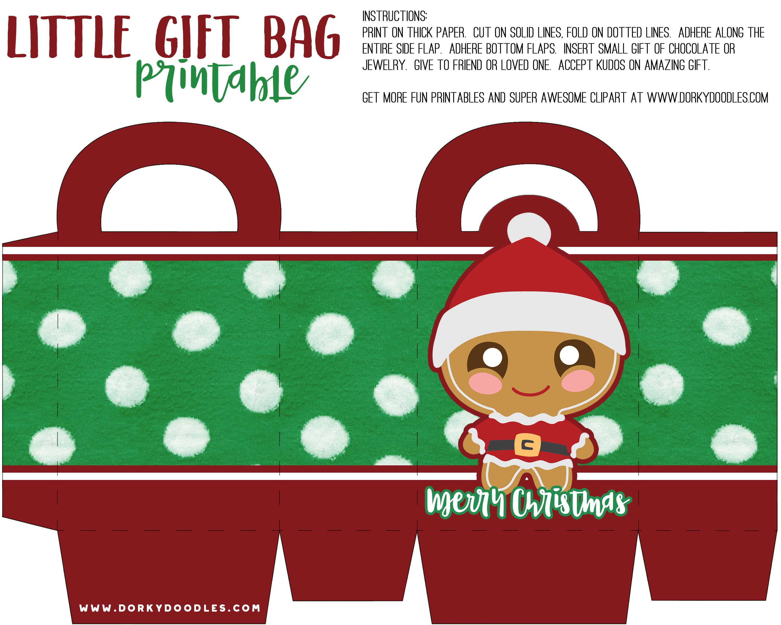 Just Right Click On The Image Below To Download And Print Our Gingerbread Santa Gift Bag Printable Christmas Share