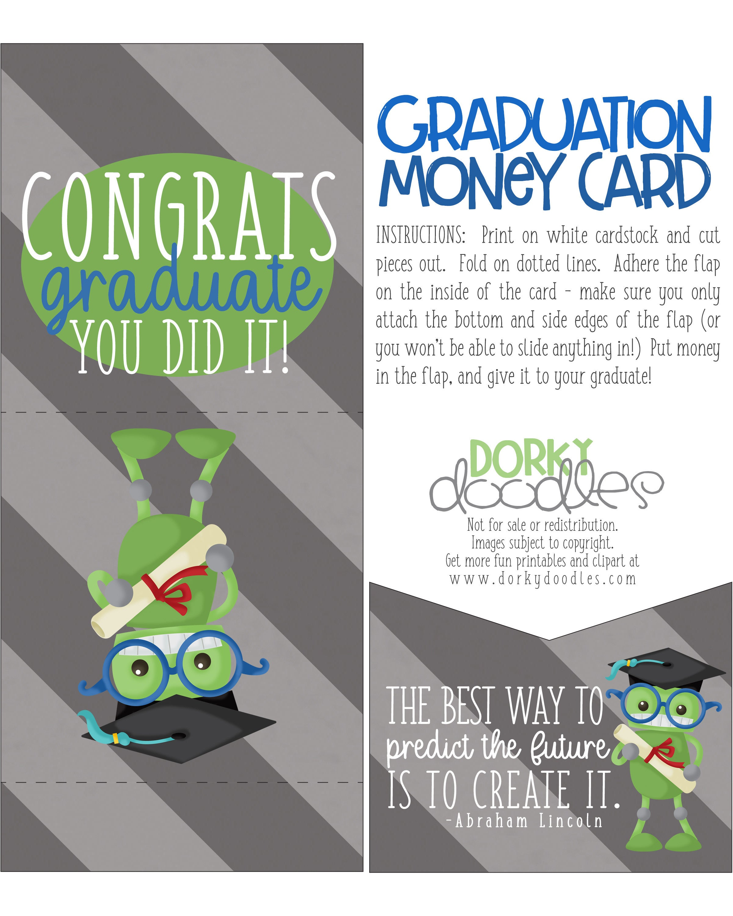 Clean image throughout printable graduation card