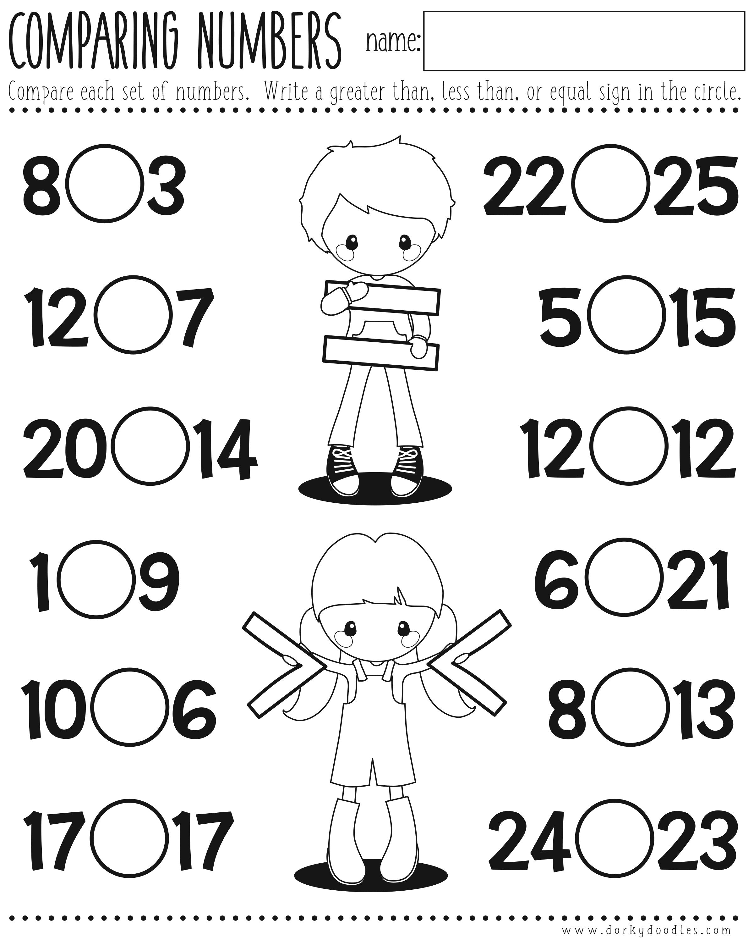 worksheet Greater Than Less Than Equal To Worksheet greater or less than comparing numbers printable dorky doodles worksheet