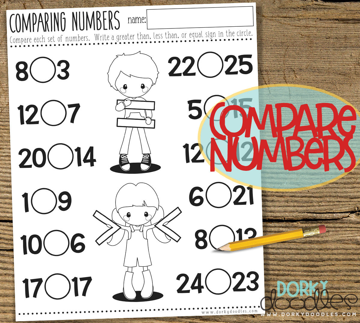compare numbers homeschool printable