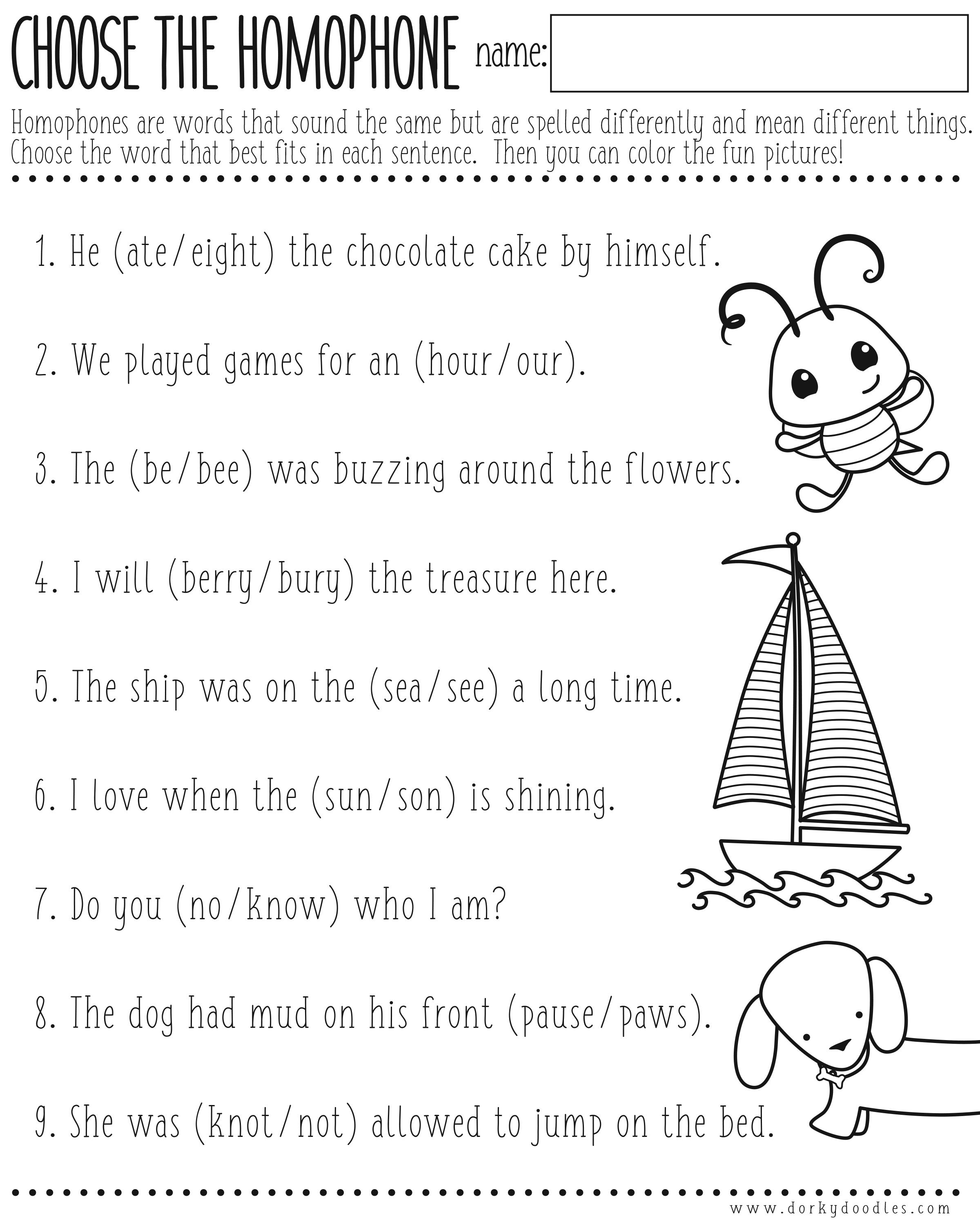 Homophones Worksheet Printable – Dorky Doodles