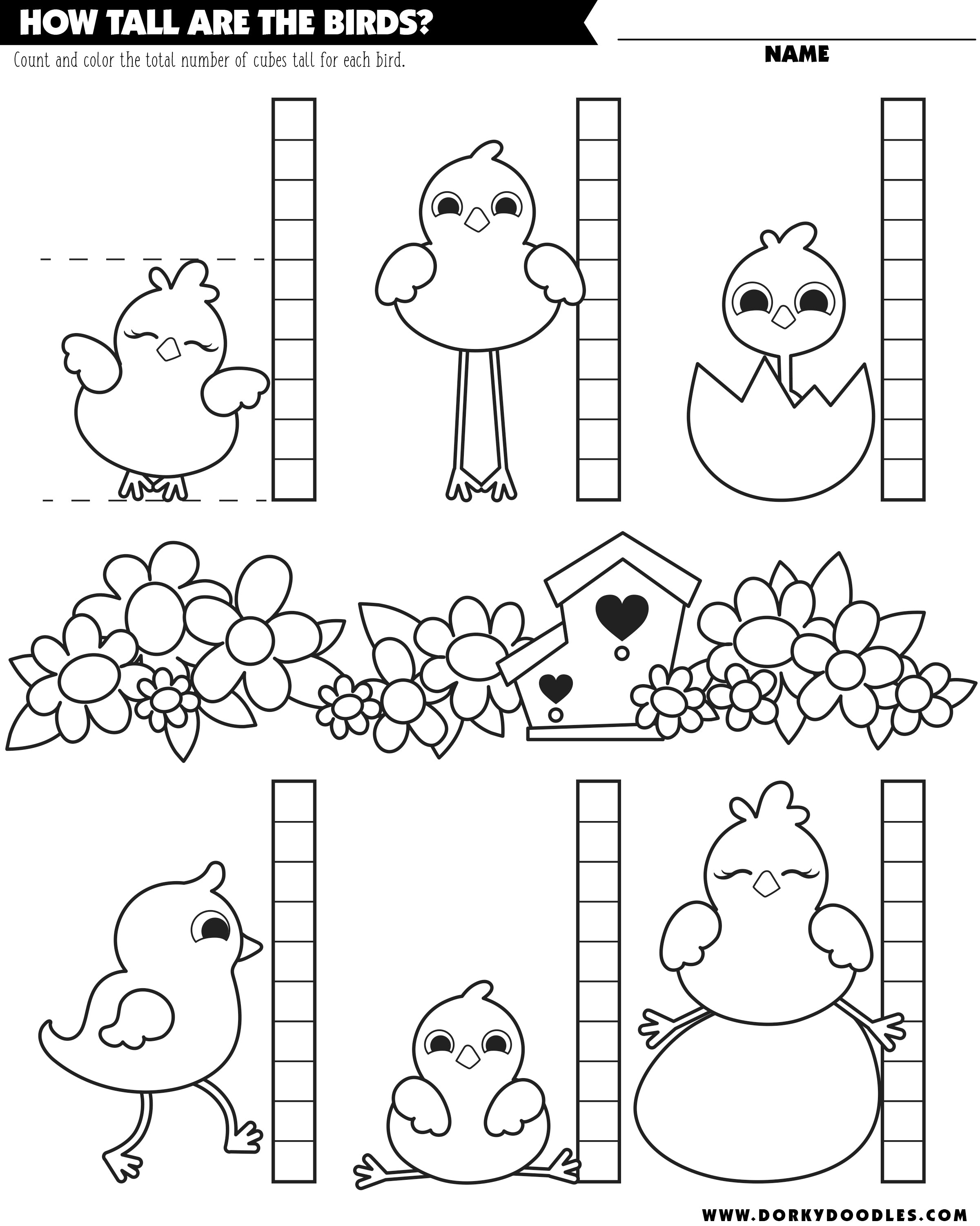 measuring worksheet with spring birds and color page fun