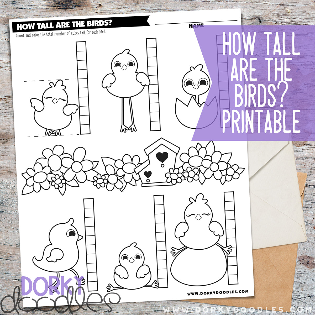 Measuring worksheet with cute birds and cubes