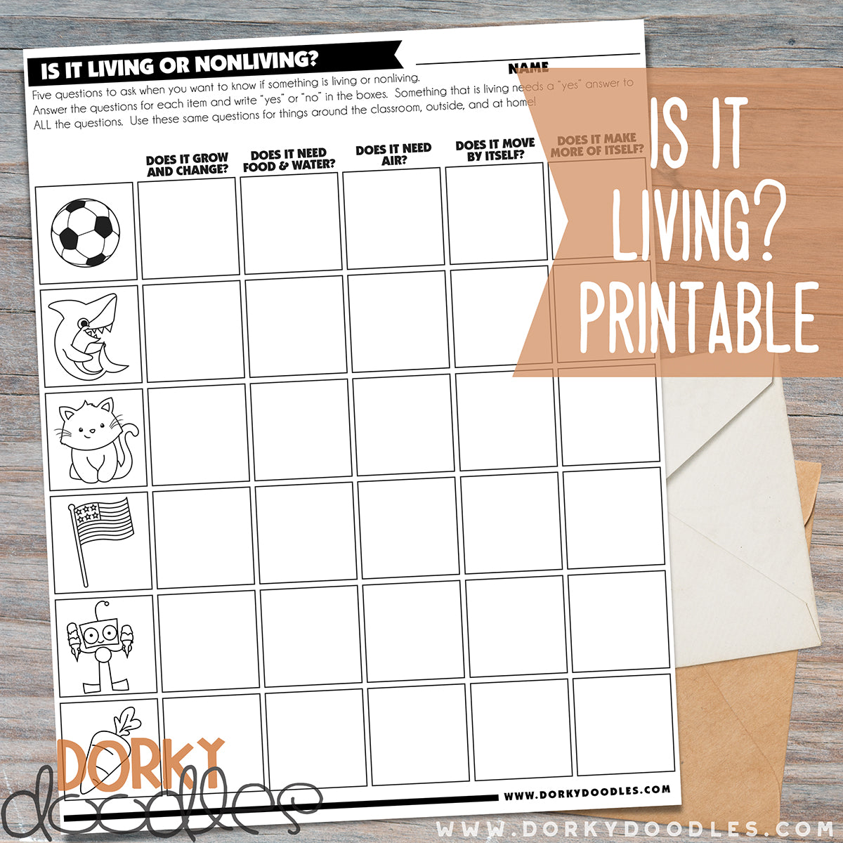 image relating to Free Printable Needs and Wants Worksheets titled Is it Residing? Totally free Printable Worksheet Dorky Doodles