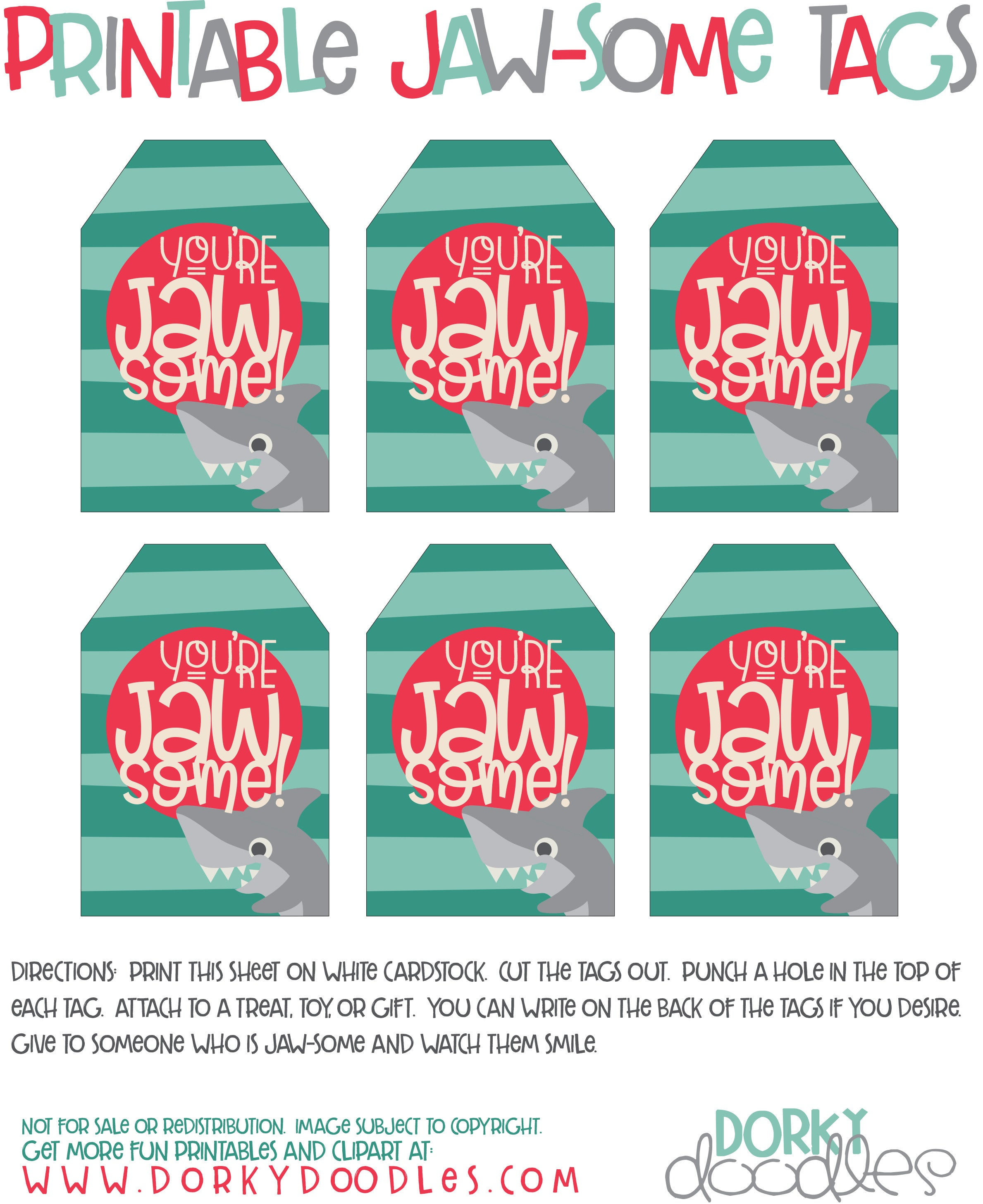 graphic about Printable Cardstock Tags referred to as Printable Shark Tags Dorky Doodles