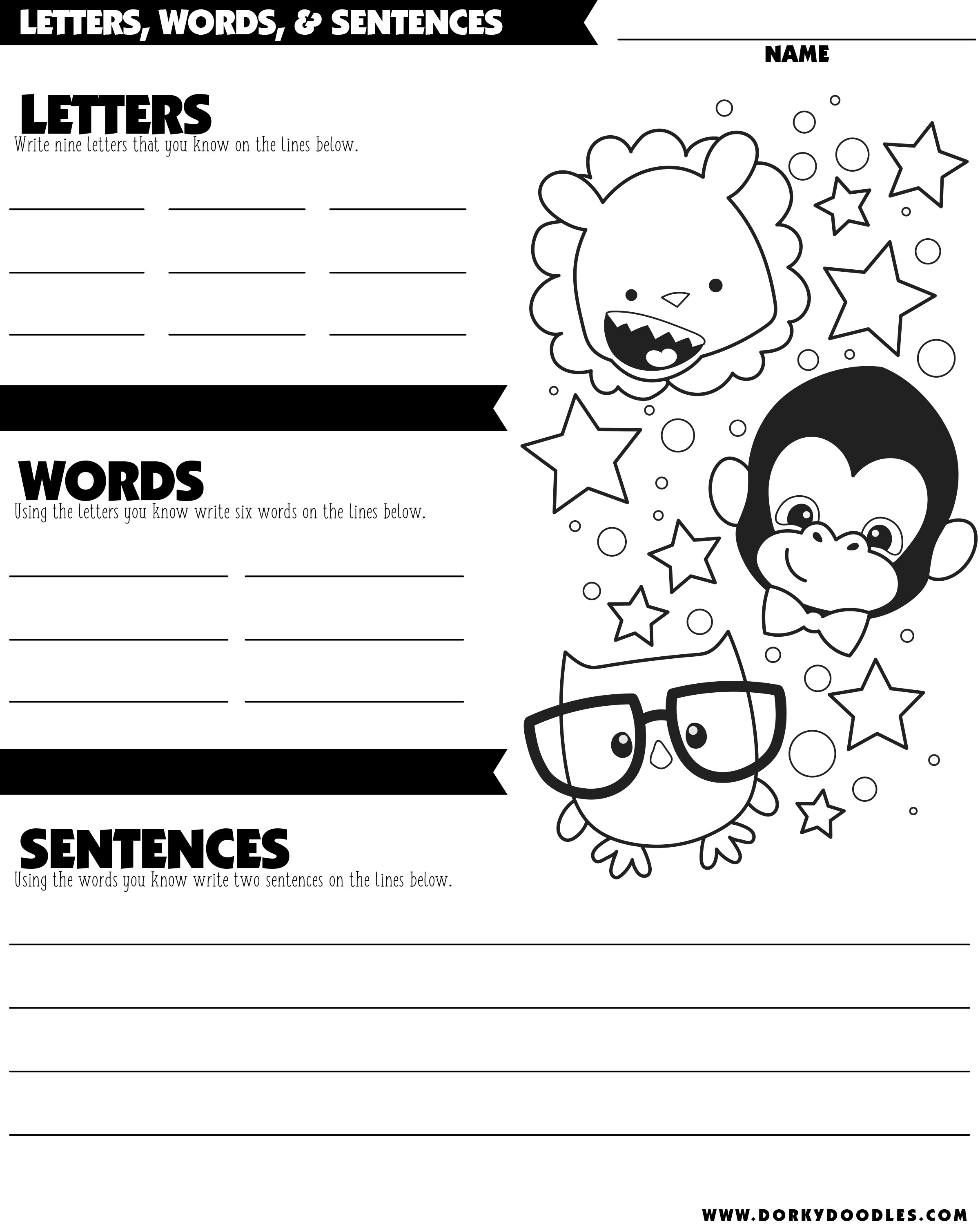 letters words and sentences writing practice