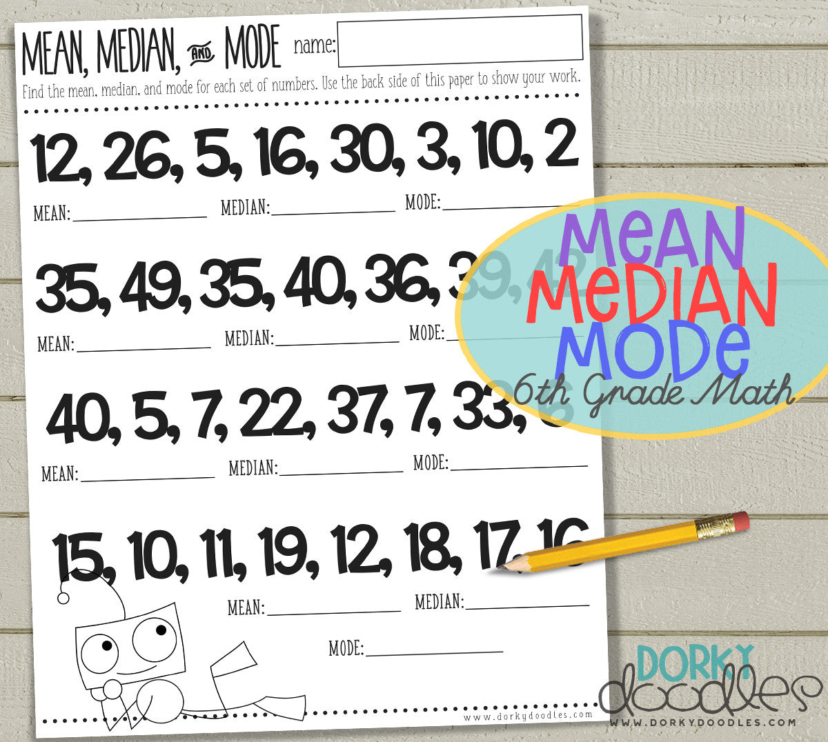 mean median mode printable