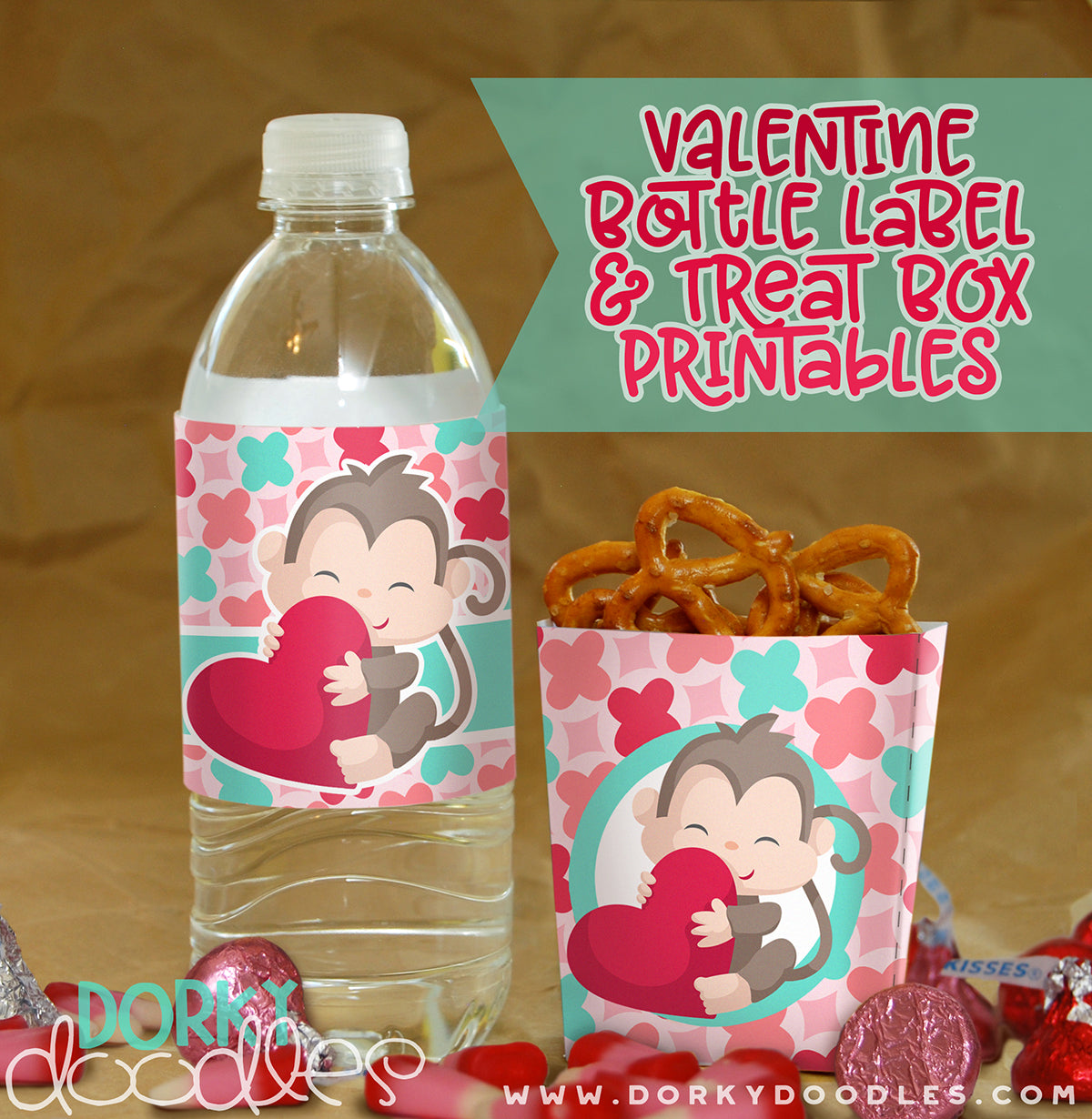 valentine printable bottle label and treat box