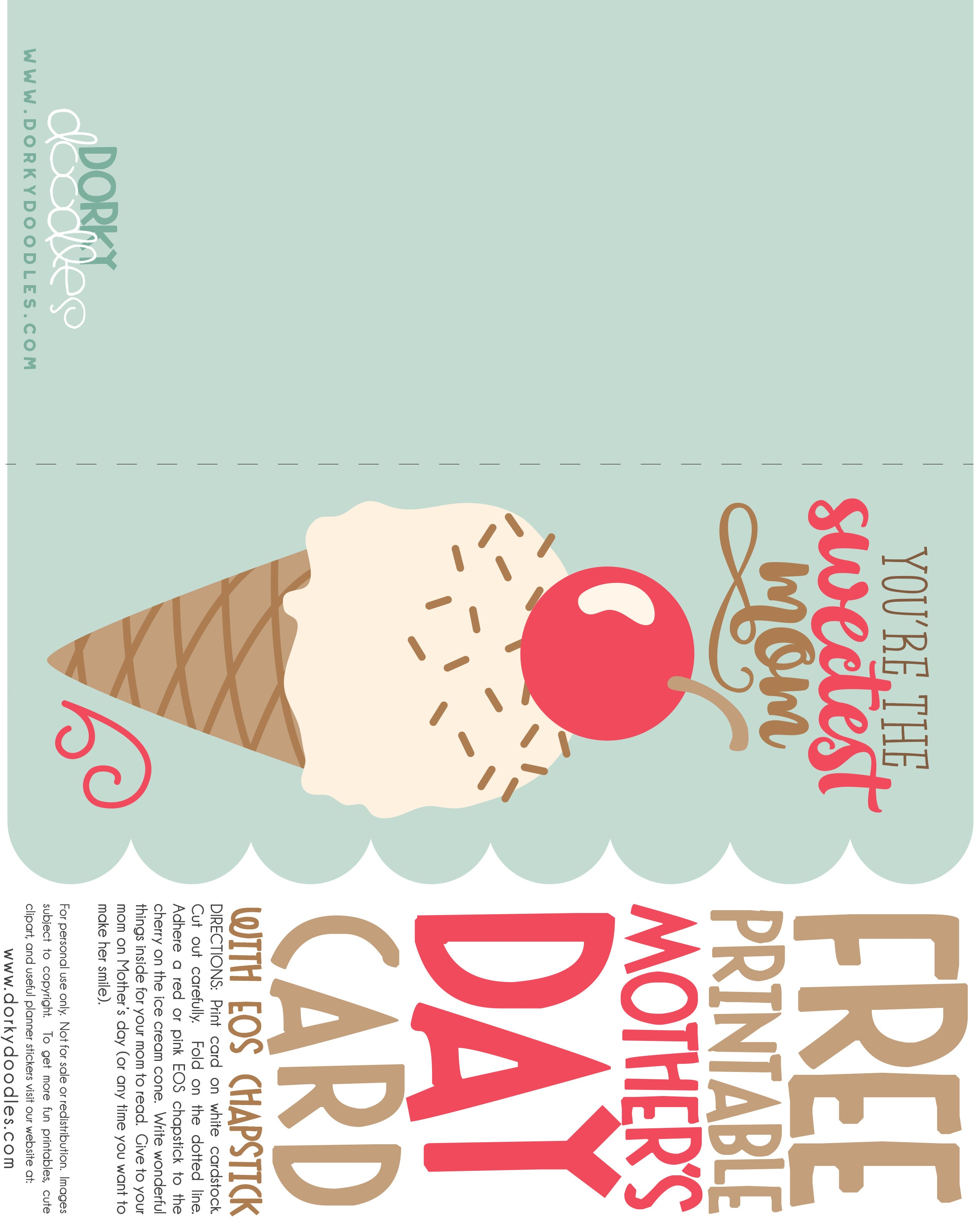 picture regarding Free Printable Funny Mothers Day Cards referred to as Totally free Moms Working day Card with EOS Chapstick Dorky Doodles