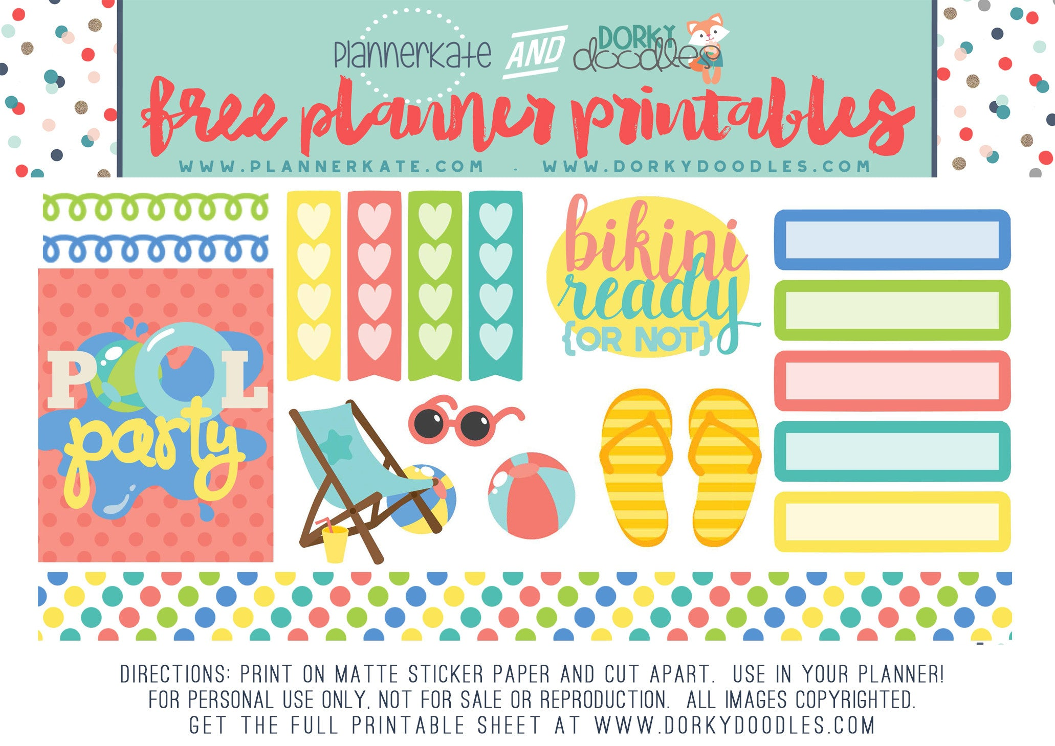 free pool planner stickers