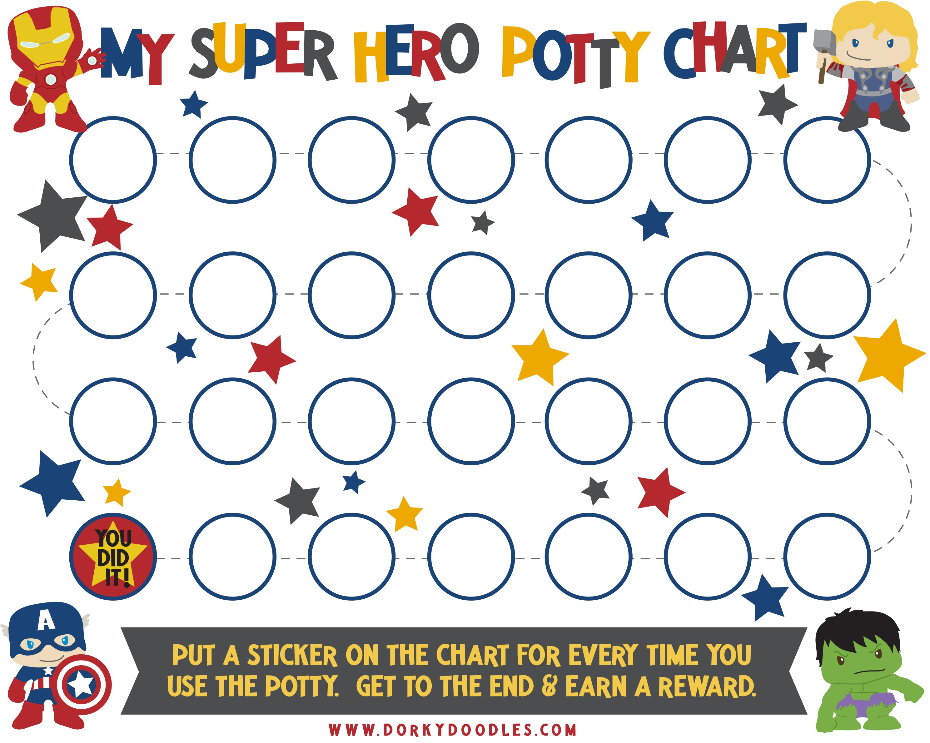 potty training sticker chart with super heroes