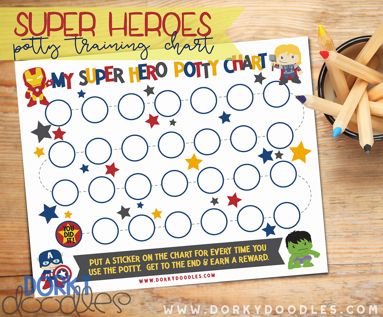 superhero potty training sticker chart
