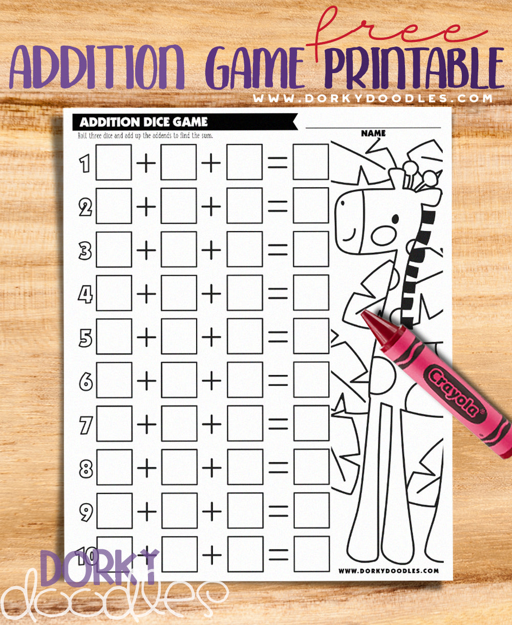 Dice Rolling And Addition Game With 3 Addends Dorky Doodles