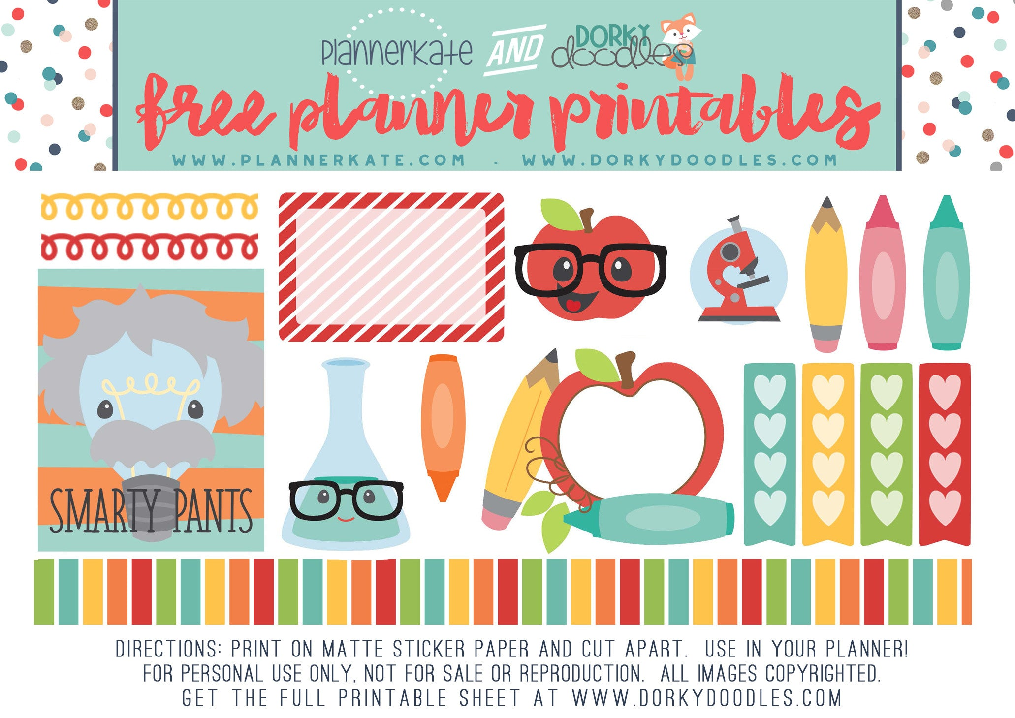 free school planner stickers