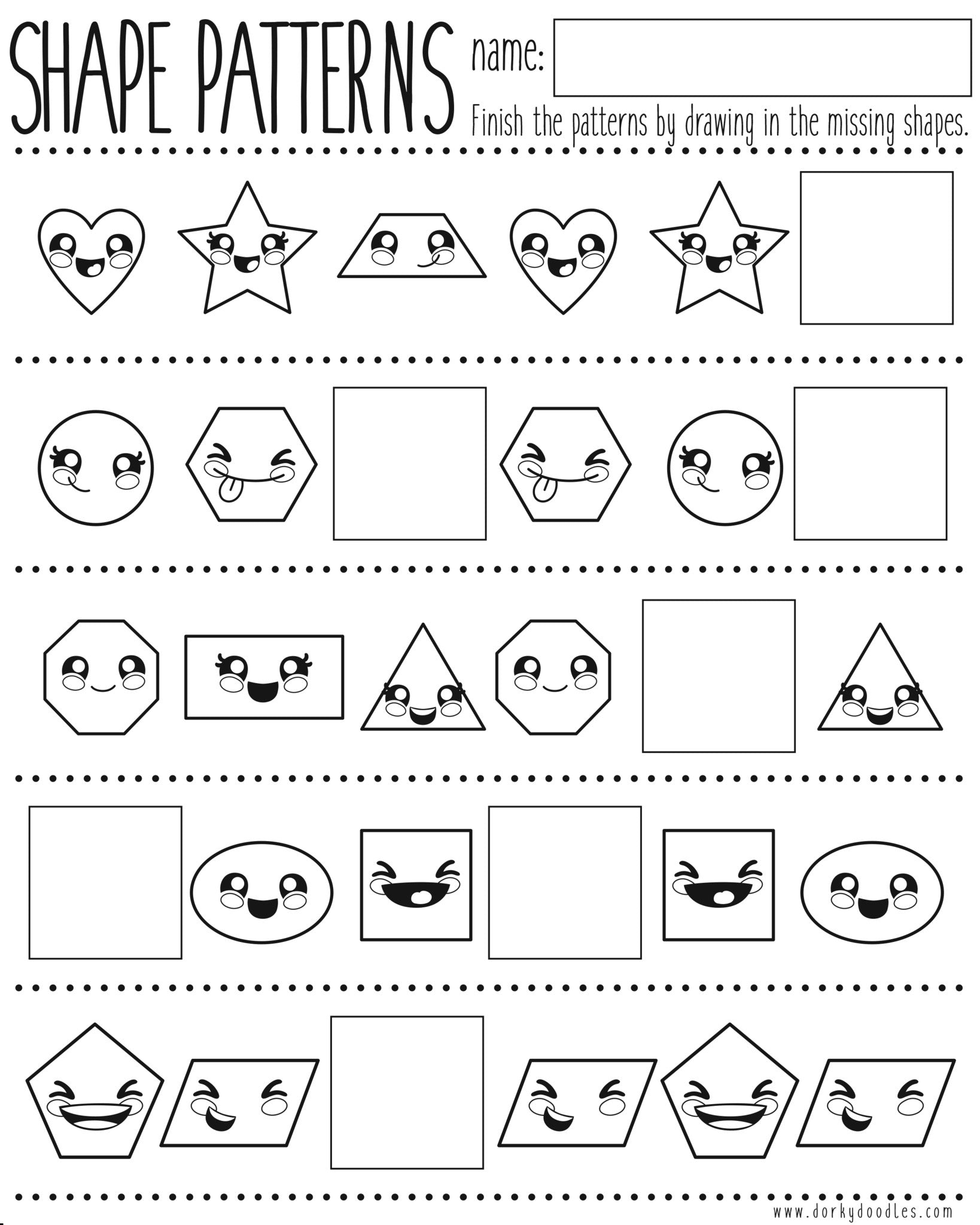 Shapes and Pattern Practice Printable Worksheet