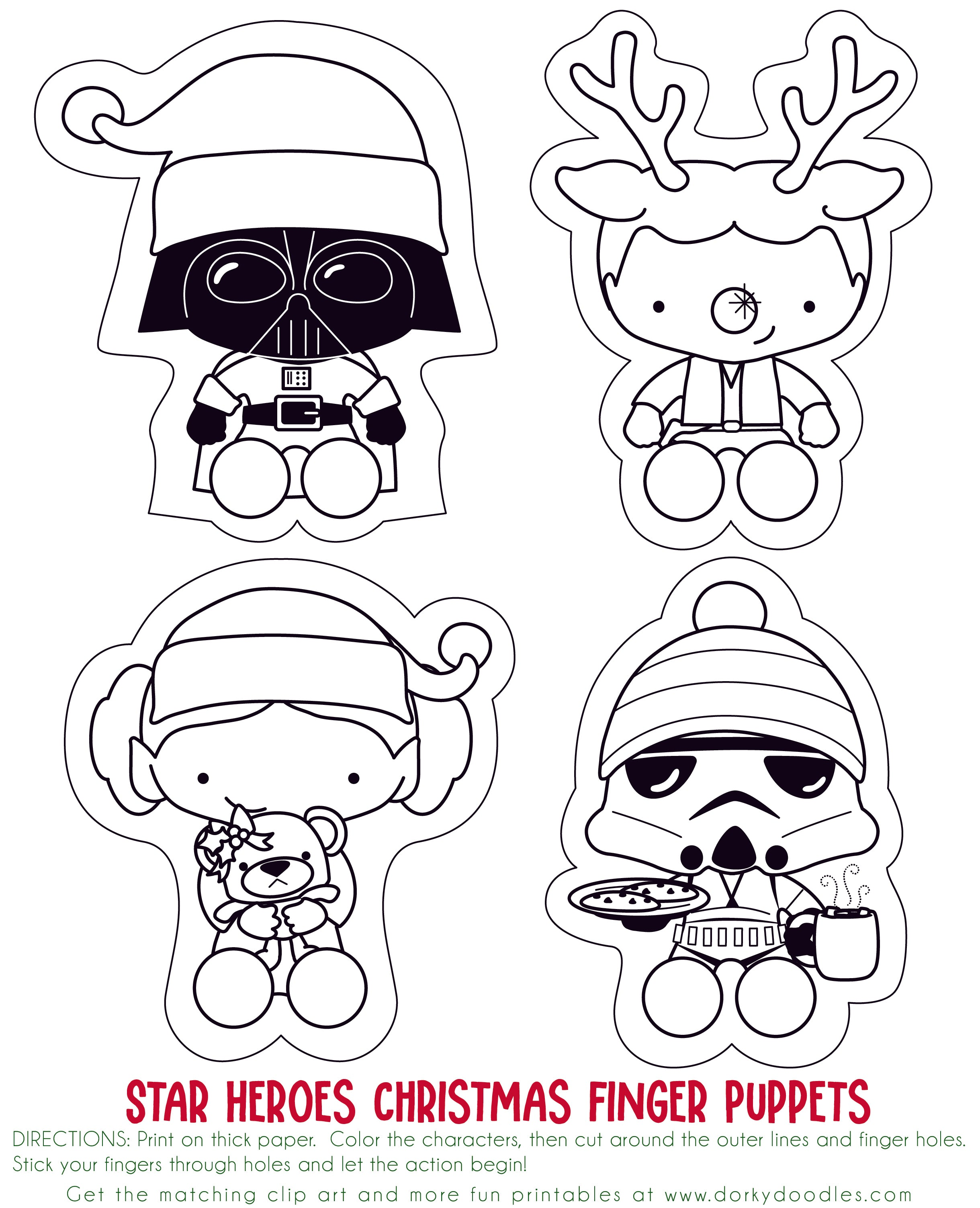 image relating to Printable Puppets on a Stick identified as Star Heroes Printable Xmas Finger Puppets Dorky Doodles