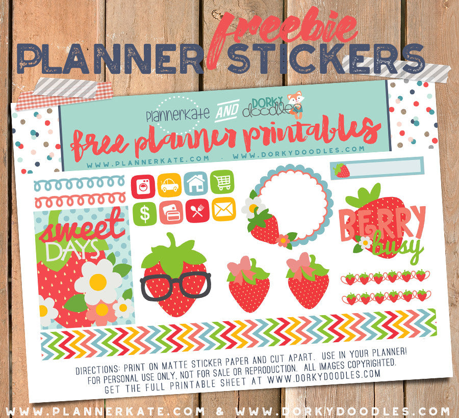 strawberry planner stickers