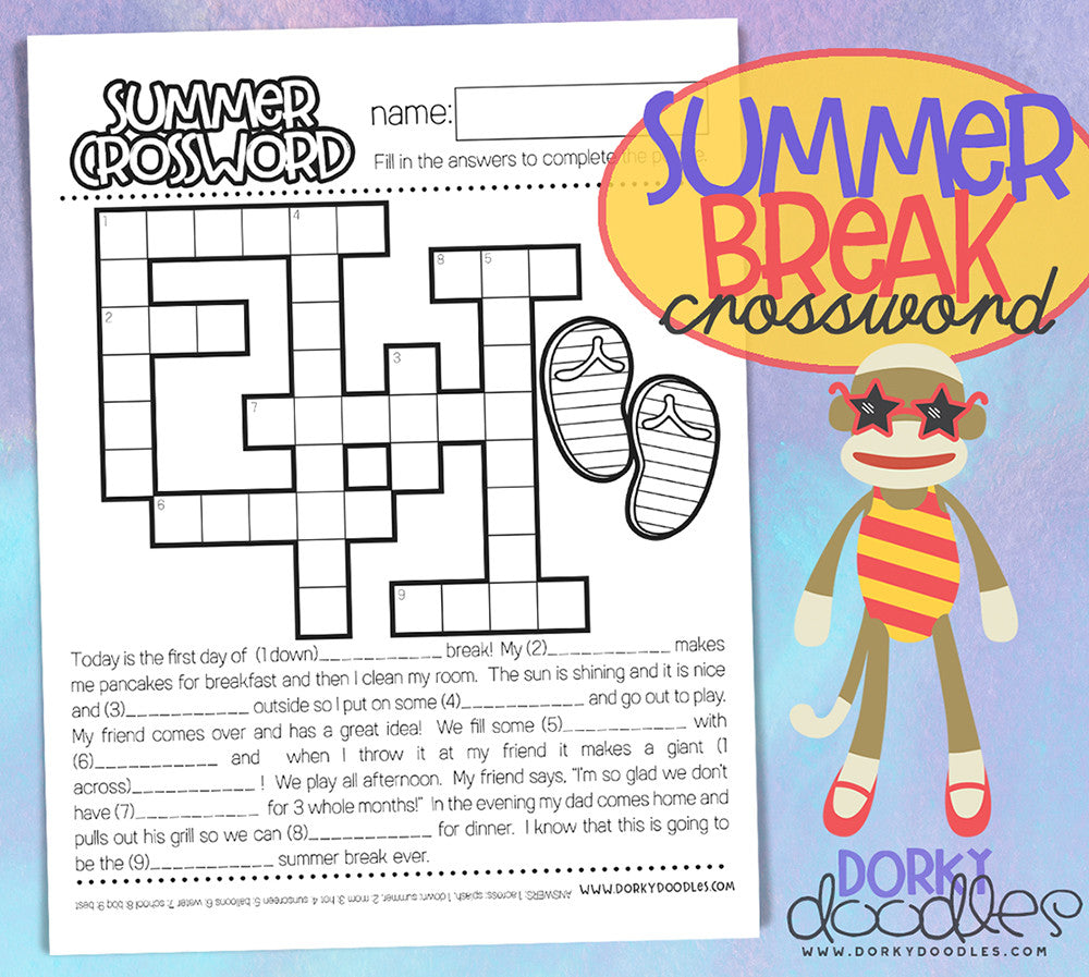 photo relating to Summer Crossword Puzzles Printable known as Summer season Split Crossword Puzzle Printable Dorky Doodles