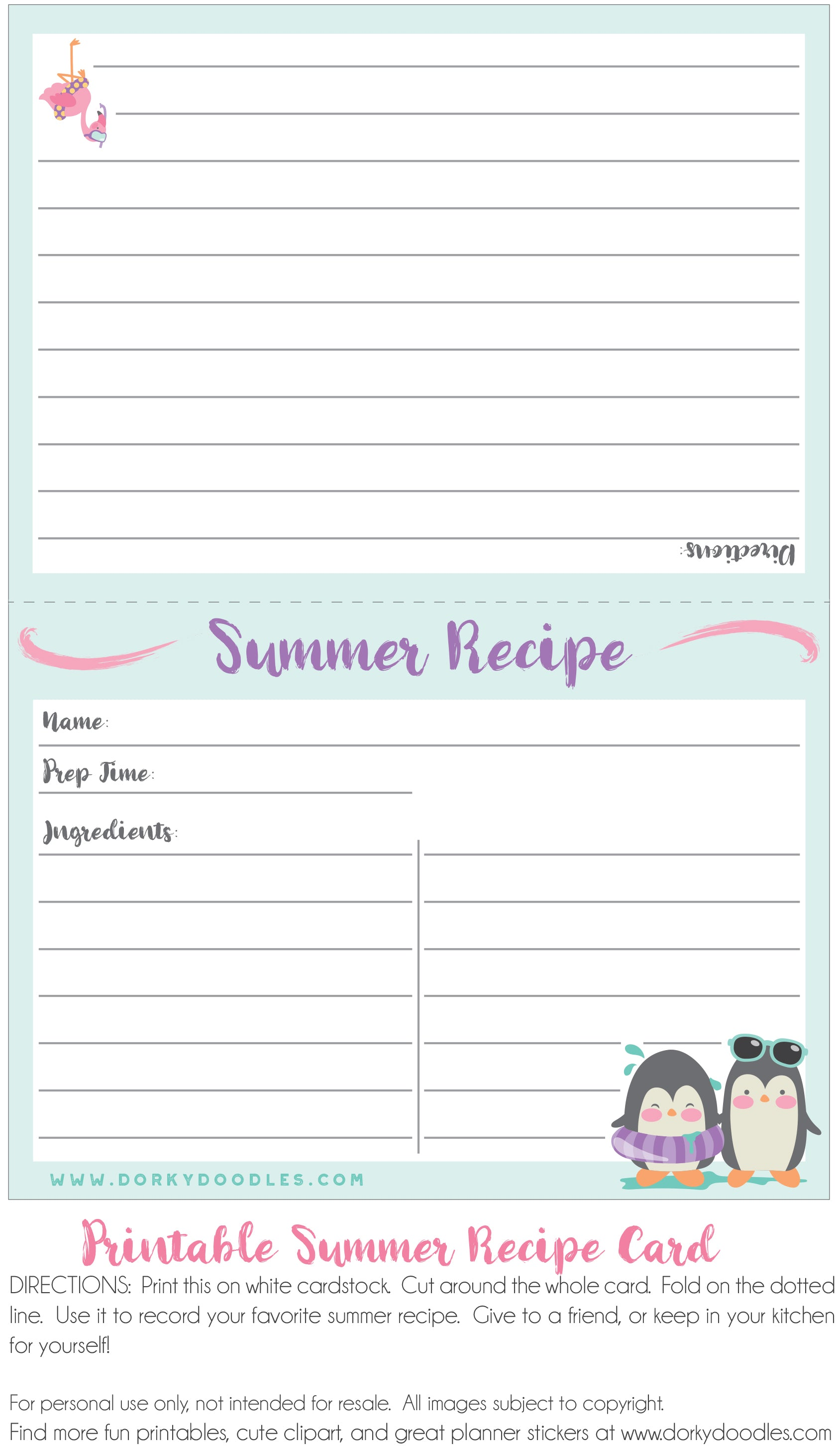 summer recipe card