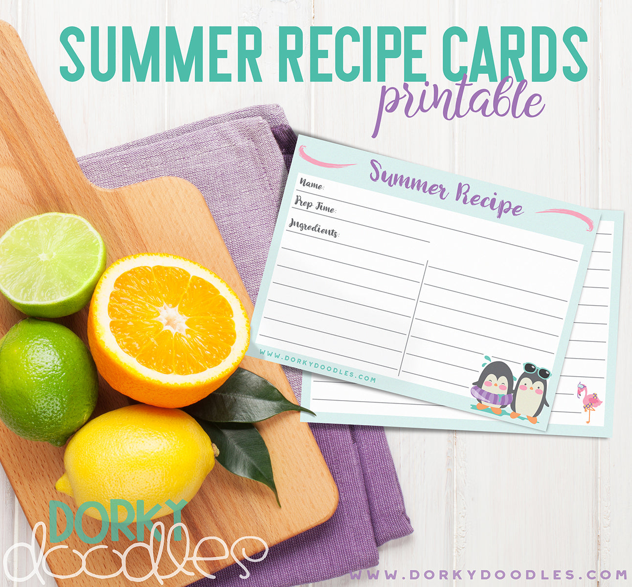 summer recipe card printable