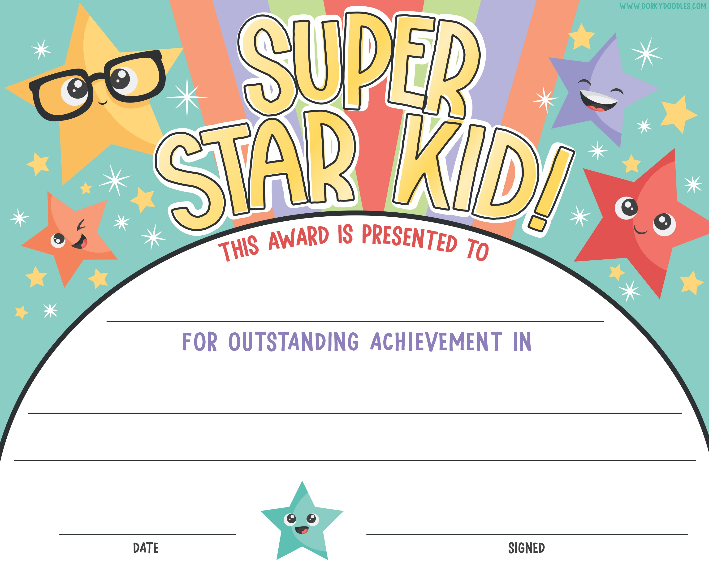 graphic about Free Printable Certificates for Kids named Printable Award Certification for Little ones Dorky Doodles