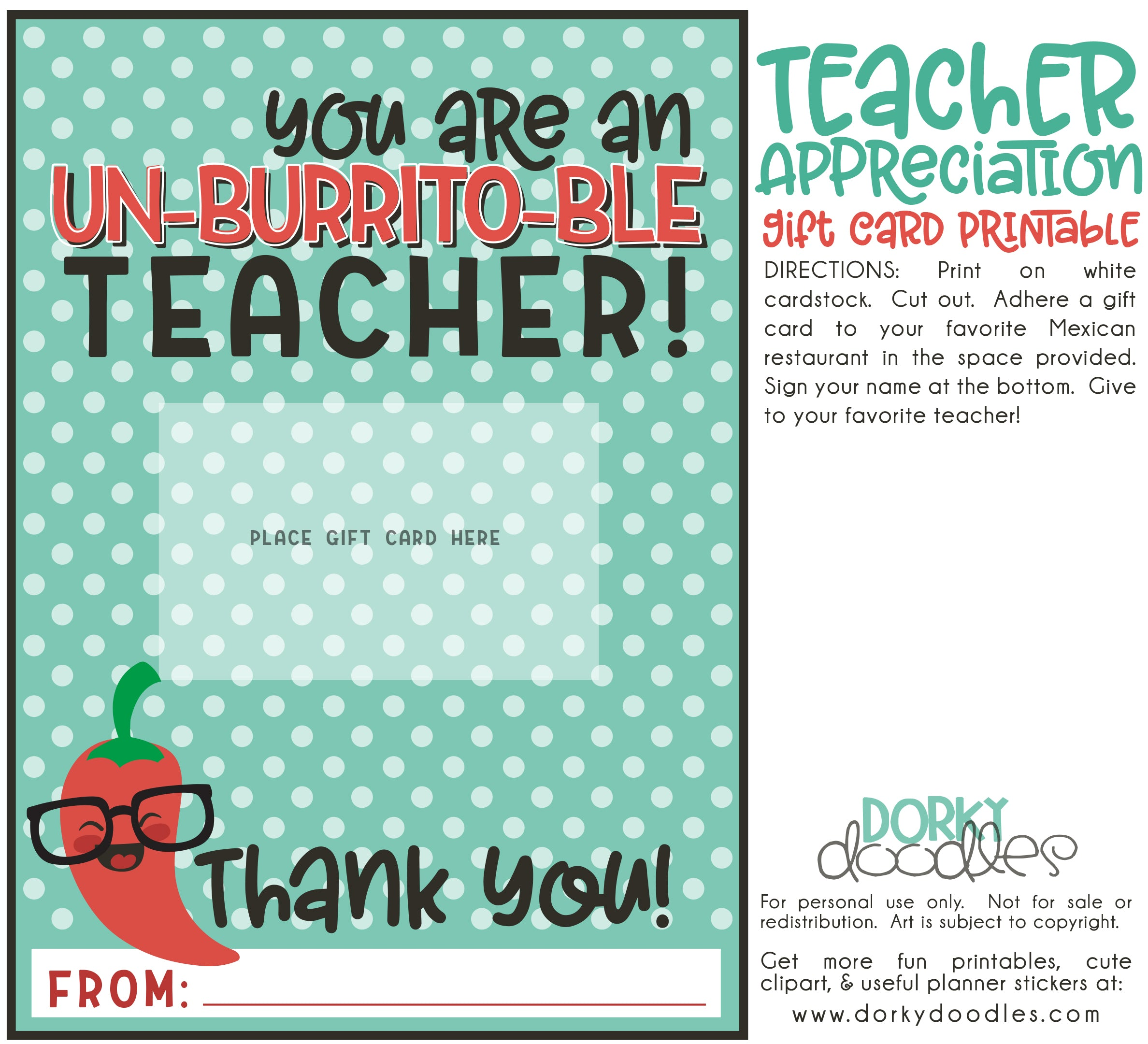 graphic regarding Printable Restaurant Gift Cards named Instructor Appreciation Reward Card Printable Dorky Doodles