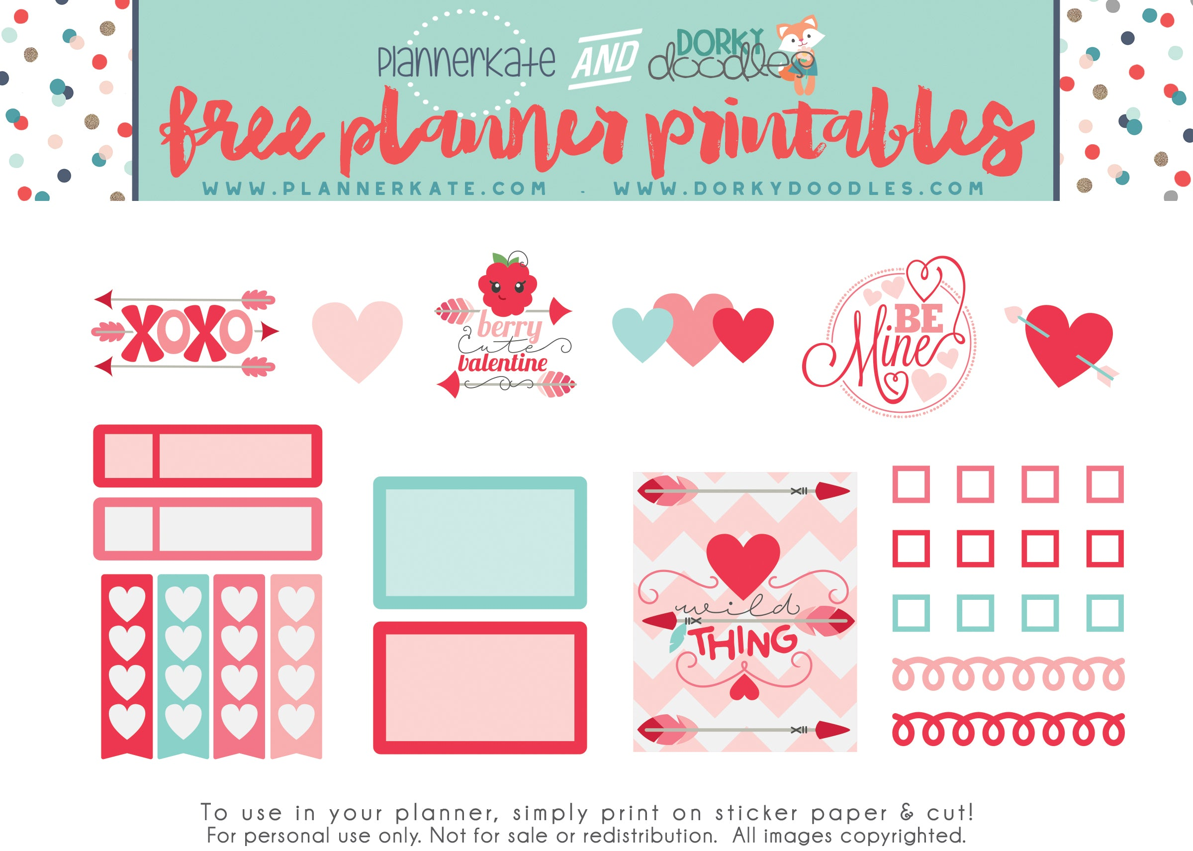 photograph regarding Valentine Stickers Printable titled Lovable Valentine Planner Sticker Freebie Dorky Doodles