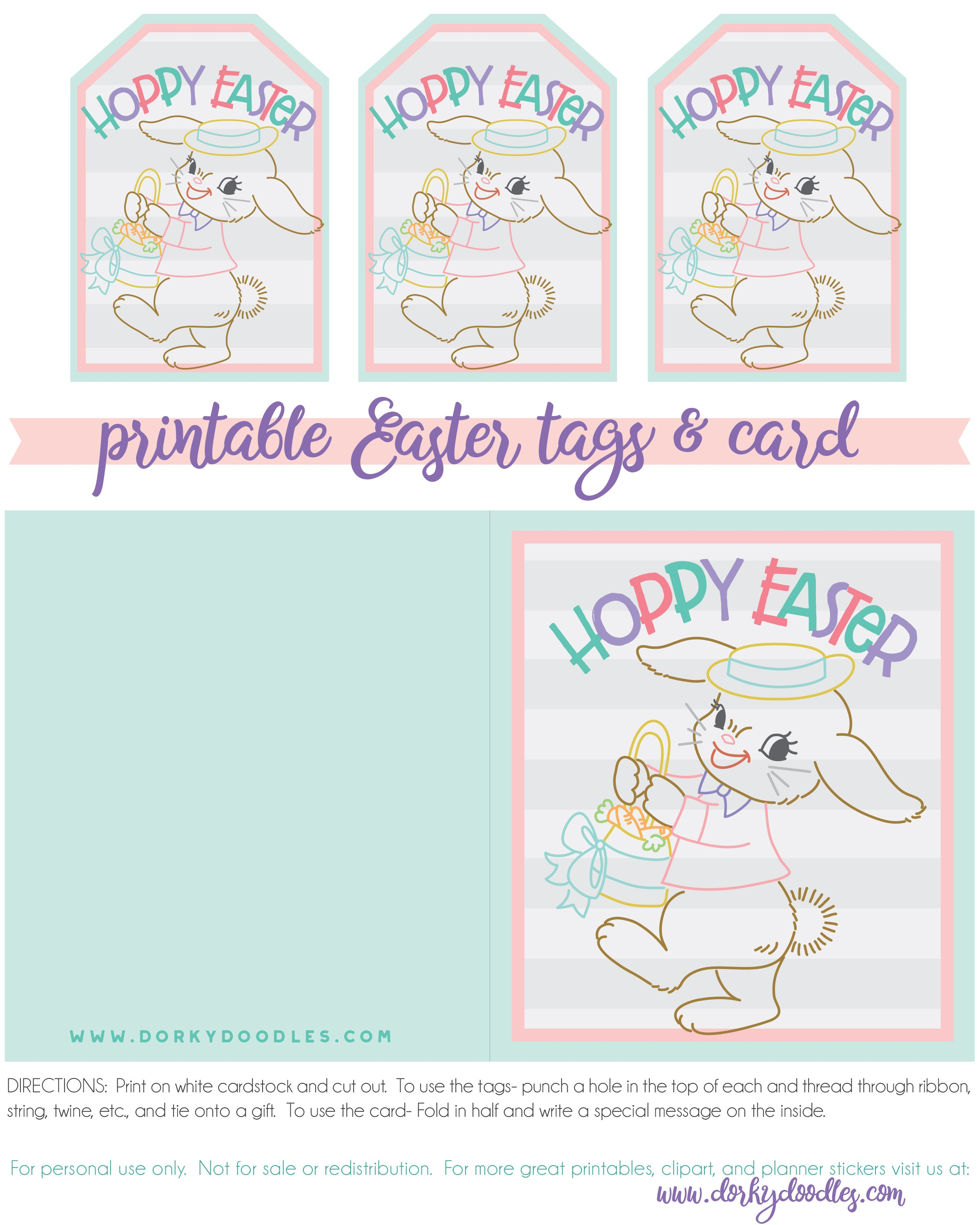 Easter card and printable tags with Vintage Easter Bunny