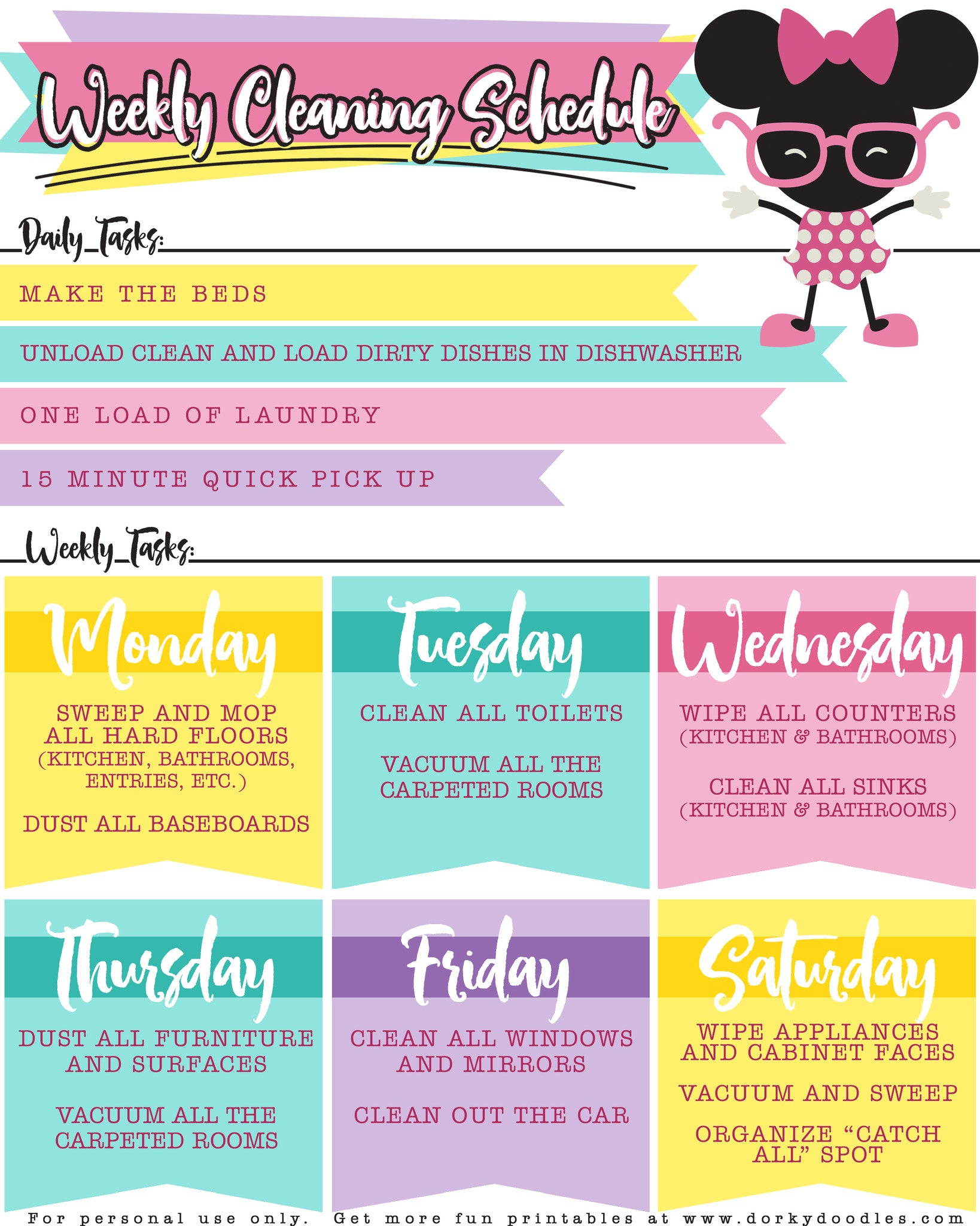 Weekly Cleaning Planner Printable Dorky Doodles