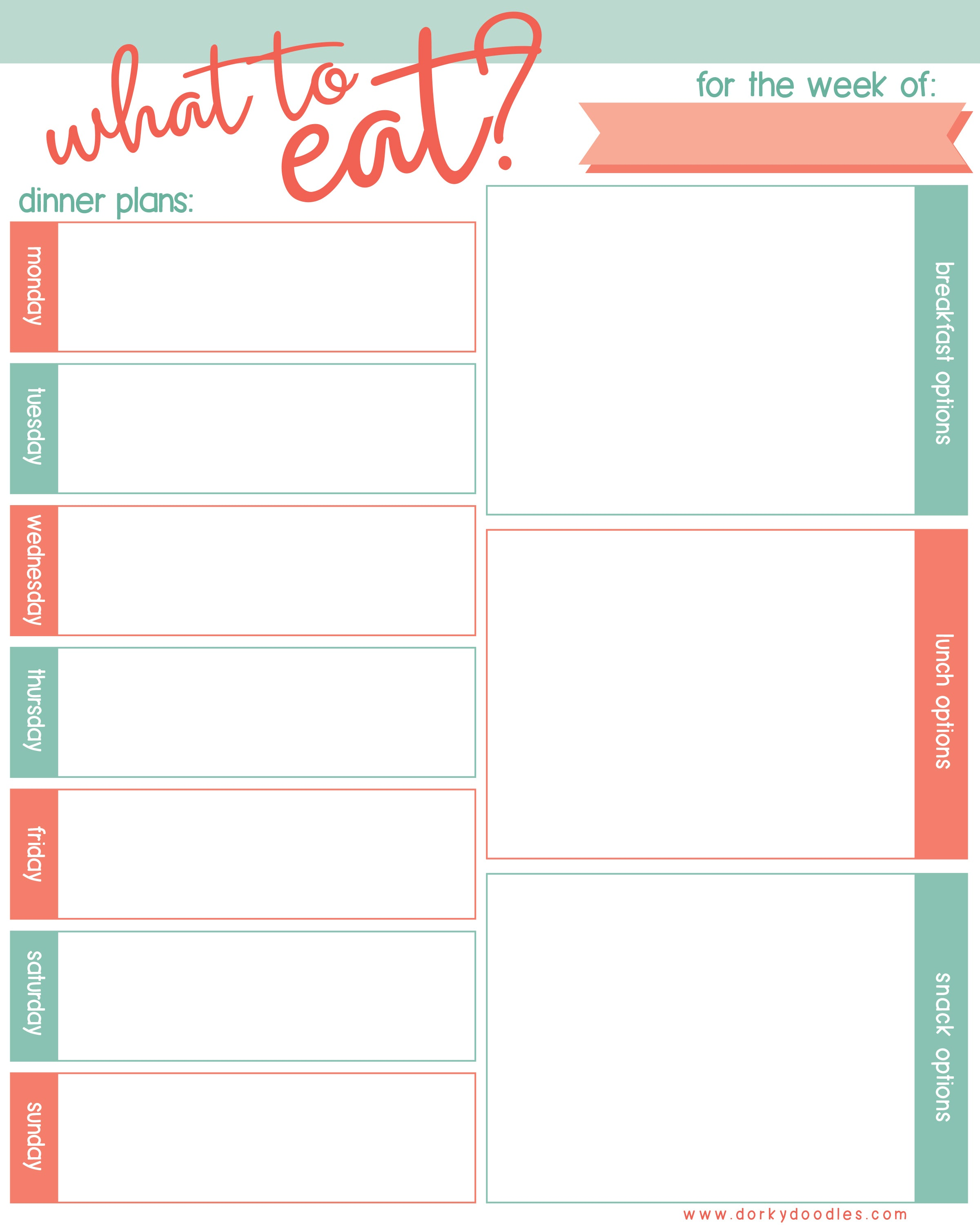 photograph regarding Weekly Meal Planning Printable identified as Weekly Dinner Planner Printable Dorky Doodles