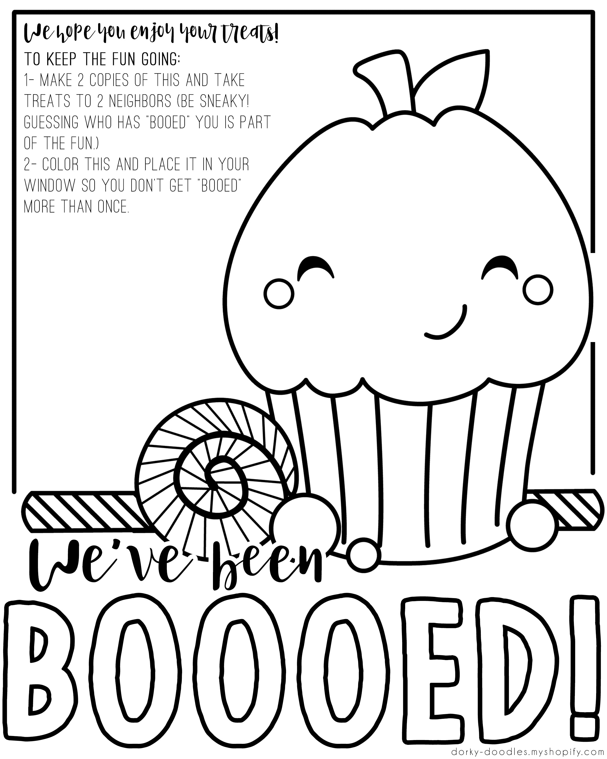You've Been Booed Printable - Dorky Doodles