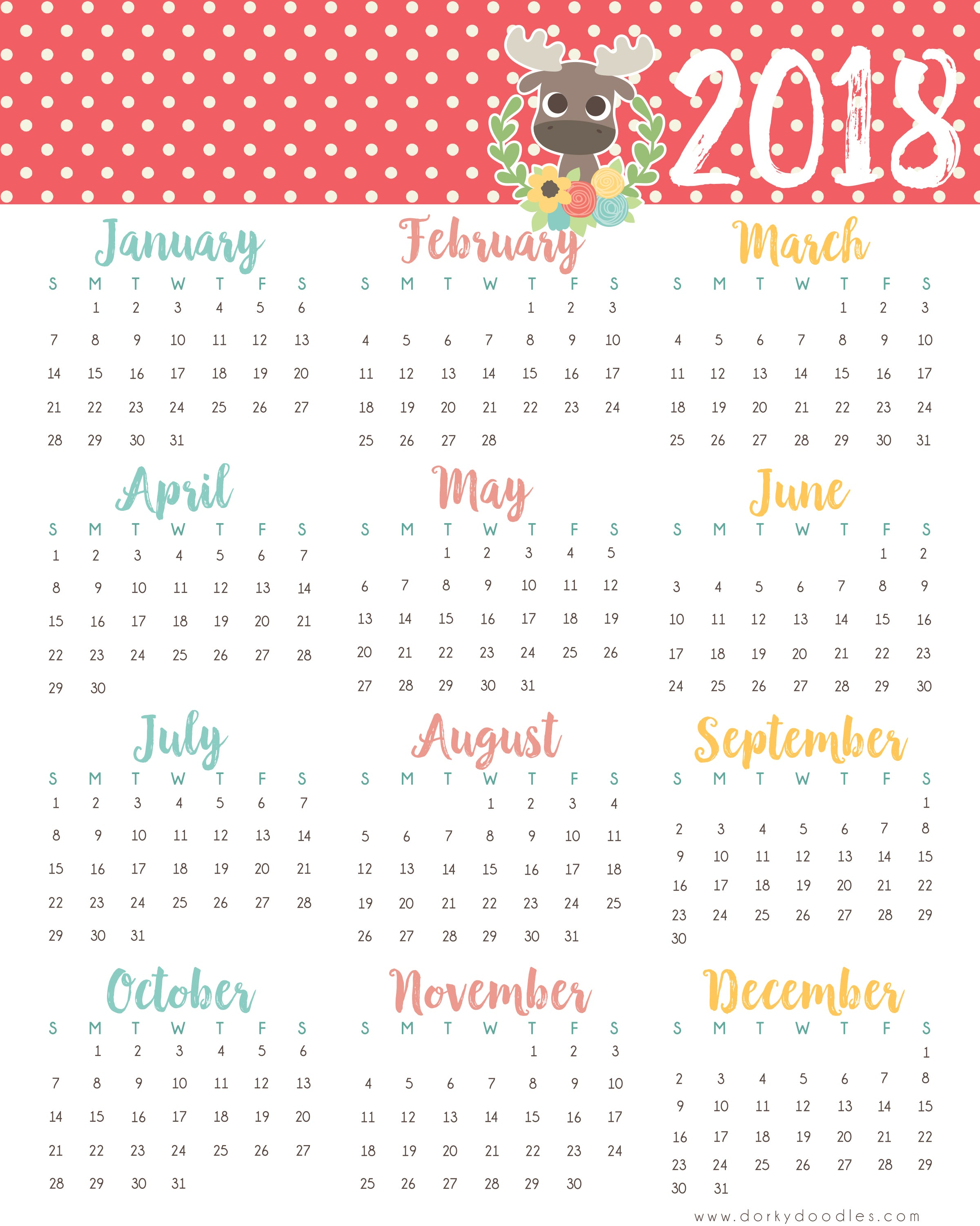 A year at a glance printable 2018 calendar dorky doodles if you love the little moose on this calendar and want to do more with our baby woodland animal clipart you can get it in our shop solutioingenieria Choice Image