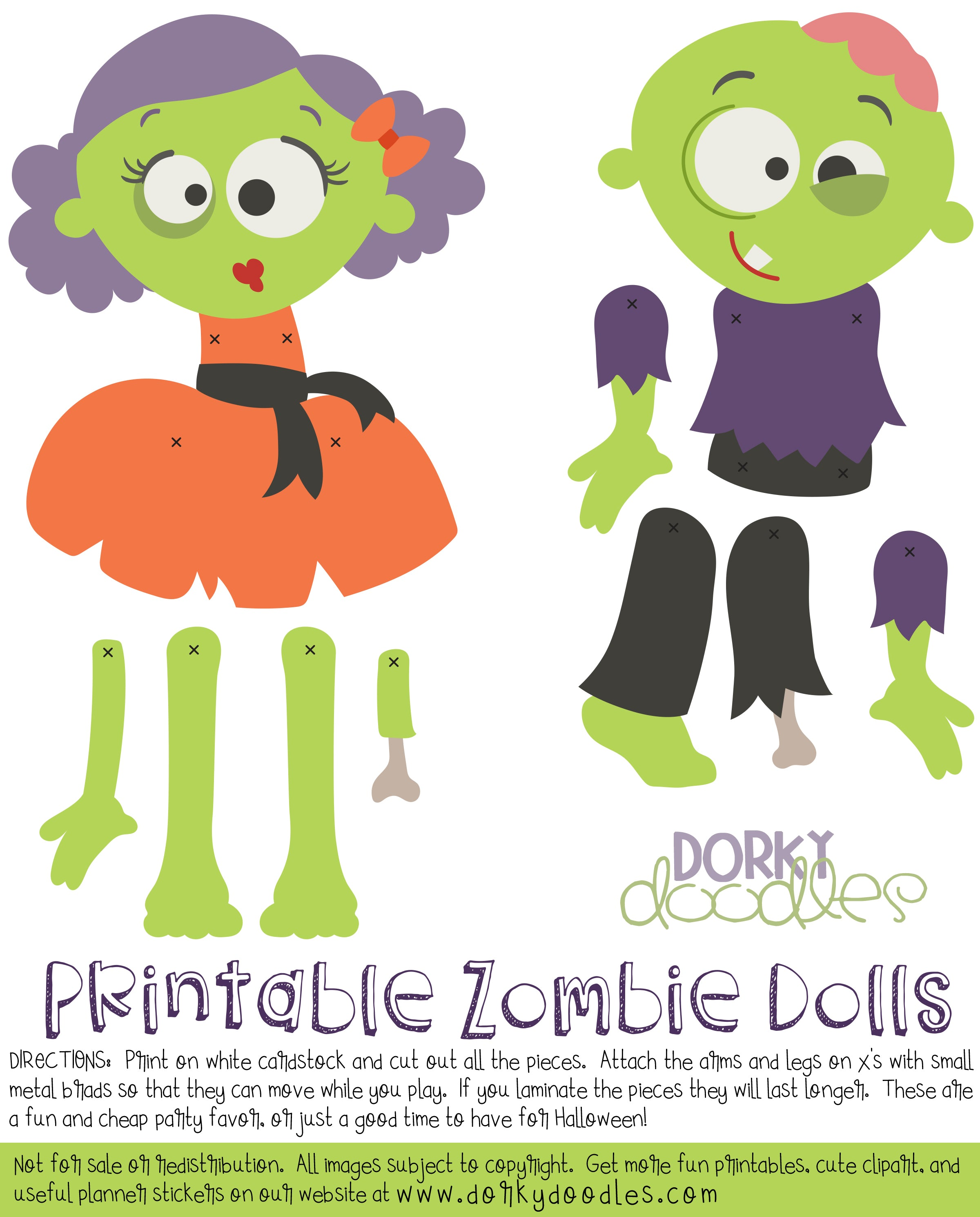image about Paper Dolls to Printable identified as Zombie Paper Dolls Printable Dorky Doodles