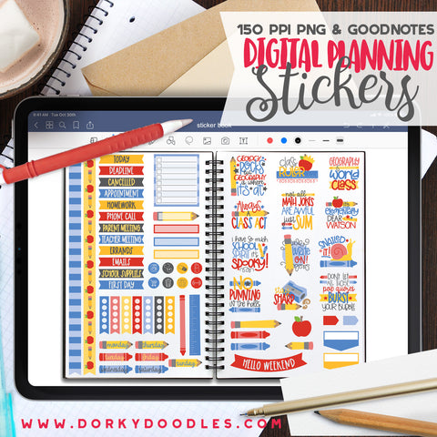 School Puns Digital Planner Stickers