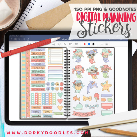 Sketchy Mermaids Digital Planner Stickers