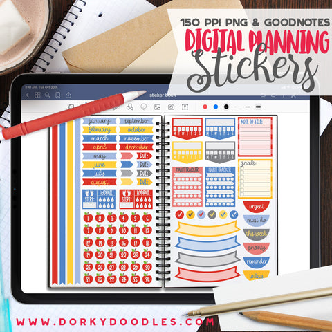 School Puns Extra Digital Planner Stickers