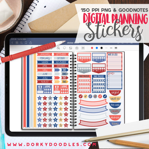 Patriotic Extra Digital Planner Stickers