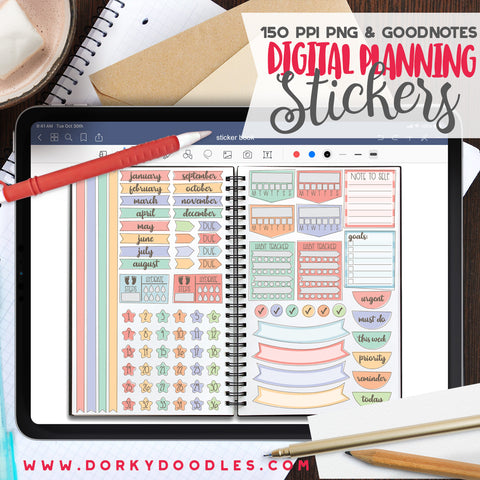 Sketchy Mermaid Extra Digital Planner Stickers