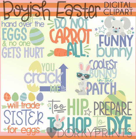 Easter Boy Title Words Spring Clipart