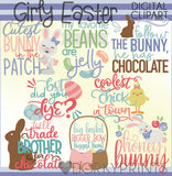 Easter Girl Title Words Spring Clipart
