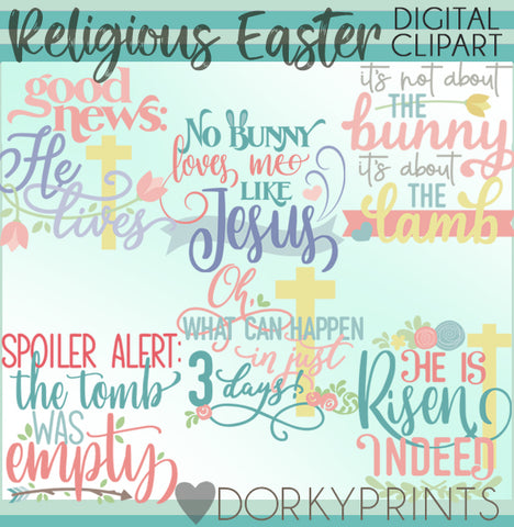 Religious Easter Title Words Spring Clipart