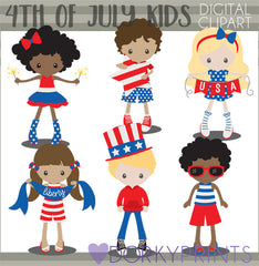 Red White and Blue Kids of Summer Clipart