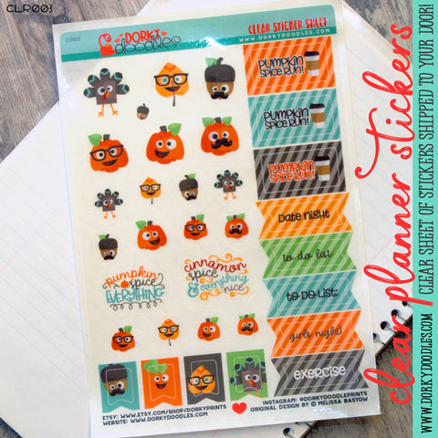 Silly Spice Clear Planner Stickers