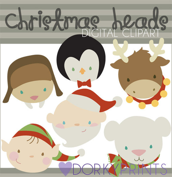 Holiday Heads Christmas Clipart