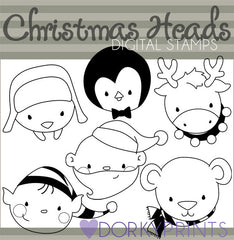 Holiday Heads Blackline Christmas Clipart