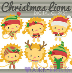 Holiday Lions Christmas Clipart